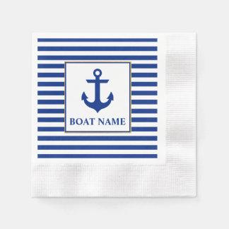 Nautical Boat Name Anchor Striped Cocktail Napkin