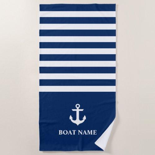 Nautical Boat Name Anchor Striped Navy Blue Beach Towel