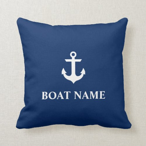 Nautical Boat Name Anchor Throw Pillow Navy Blue