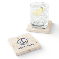 Nautical Boat Name Anchor Wheel Travertine Stone Coaster