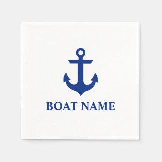 Nautical Boat Name Anchor White Cocktail Paper Napkin