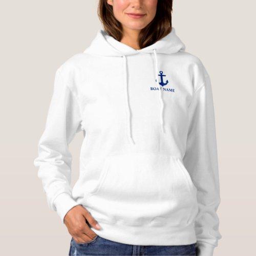 Nautical Boat Name Anchor White W Hoodie