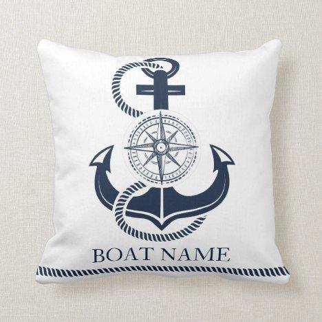 Nautical Boat Name Blue Anchor Throw Pillow