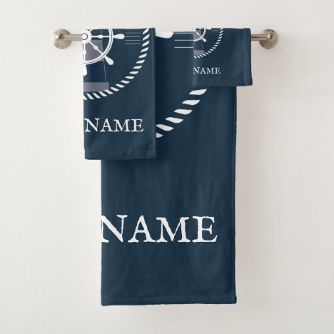 Nautical Boat Name Navy Blue Personalized Bath Towel Set