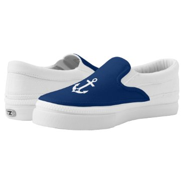 Beach Themed Nautical Boat Star Anchor Navy Blue Slip-On Sneakers