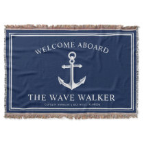 Nautical Boat Welcome | Navy and White Throw Blanket