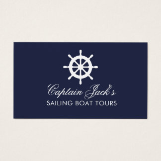 Nautical boat wheel business card template