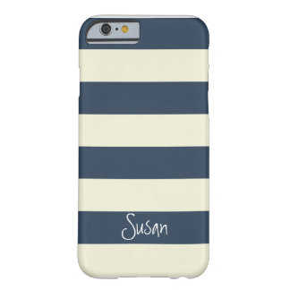 Nautical Bold Navy Stripes with Name - iPhone 6 ca Barely There iPhone 6 Case