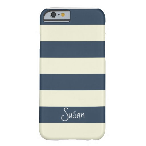 Nautical Bold Navy Stripes with Name - iPhone 6 ca iPhone 6 Case