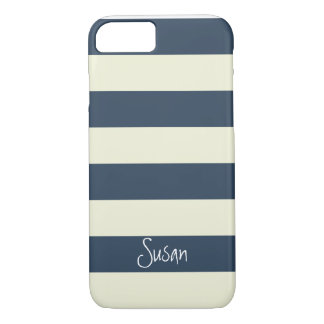 Nautical Bold Navy Stripes with Name - iPhone 7 ca iPhone 7 Case