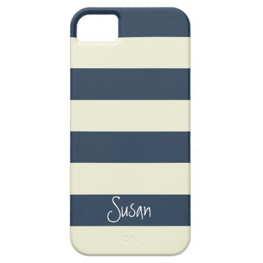 Nautical Bold Navy Stripes with Name - iPhone Case iPhone 5/5S Covers