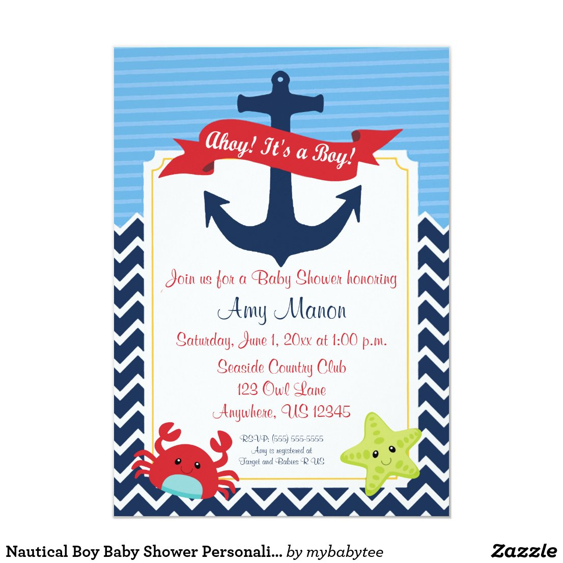 Nautical Boy Baby Shower Personalized Invitation