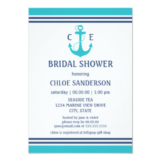 "Nautical Bridal Shower 5"" X 7"" Invitation Card"