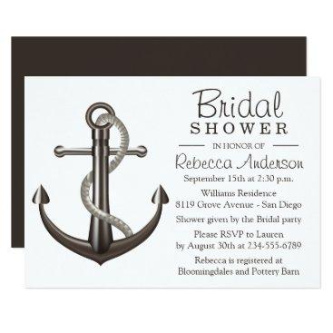 Beach Themed Nautical Bridal Shower Anchor Brown Wedding Sailor Card