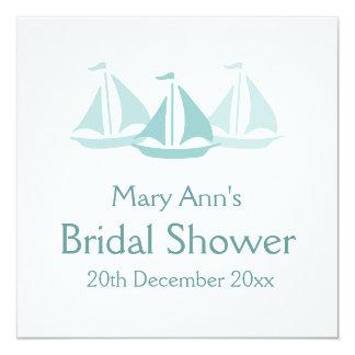 Nautical Bridal Shower Blue Boats Card
