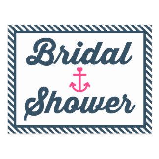 Nautical Bridal Shower Blue Stripe Invitation Postcard