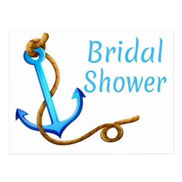 Beach Themed Nautical Bridal Shower Blue Turquoise Ship Anchor Postcard