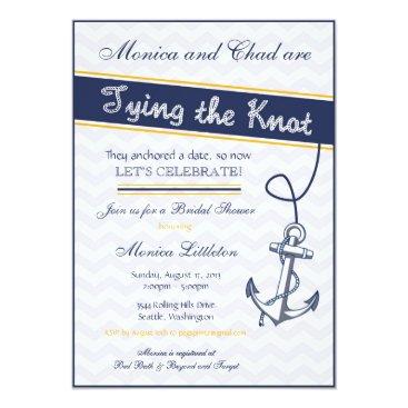 PegsPrints Nautical Bridal Shower Invitation - Beach Anchor