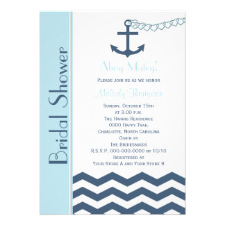 Nautical Bridal Shower Invitation Blue Cards