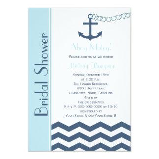 Nautical Bridal Shower Invitation, Blue 5x7 Paper Invitation Card