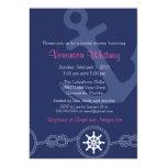Nautical Bridal Shower Invitation, Pink and Navy Card