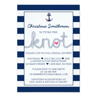 Nautical Bridal Shower Invitation - Tying the Knot