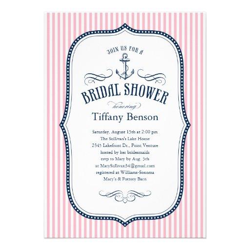 Personalized Sailboat bridal shower Invitations