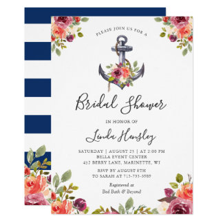 Nautical Bridal Shower Navy Stripes Anchor Floral Invitation