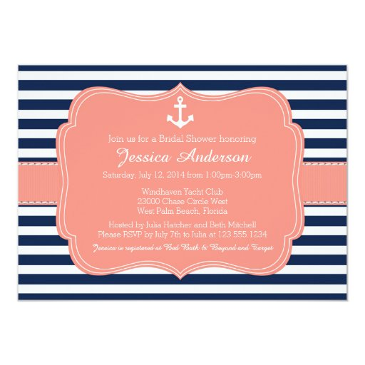 Nautical Bridal Shower or Baby Shower Invitation Card