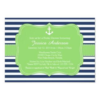 "Nautical Bridal Shower or Baby Shower Invitation 5"" X 7"" Invitation Card"