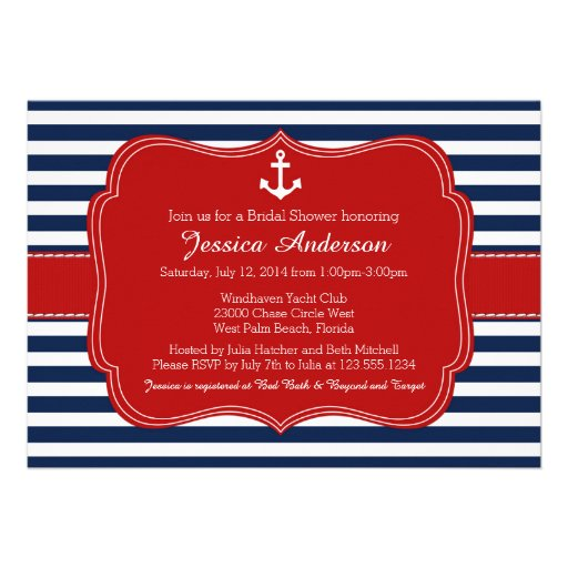 Nautical Bridal Shower or Baby Shower Invitation Personalized Invitations