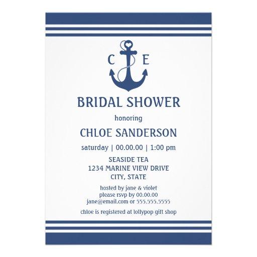Nautical Bridal Shower Personalized Invites