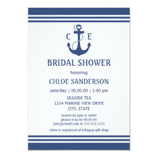 Nautical Bridal Shower Personalized Invites