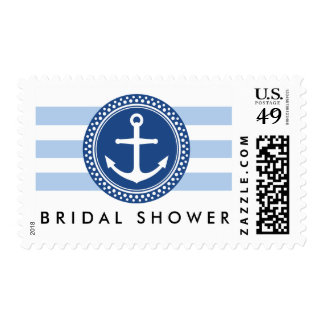 Nautical bridal shower postage, anchor and stripes