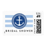 Nautical bridal shower postage, anchor and stripes stamps
