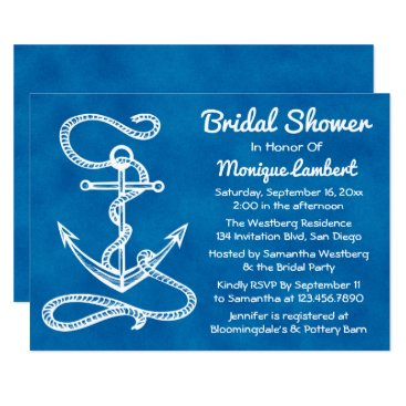 Beach Themed Nautical Bridal Shower Ship Anchor Blue Watercolor Card
