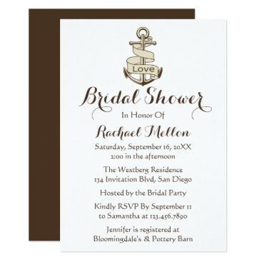 Beach Themed Nautical Bridal Shower Ship Anchor Brown And Whit Card