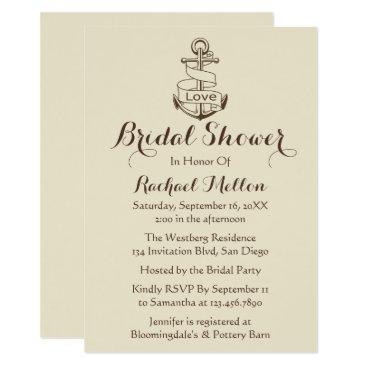 Beach Themed Nautical Bridal Shower Ship Anchor Tan Brown Card