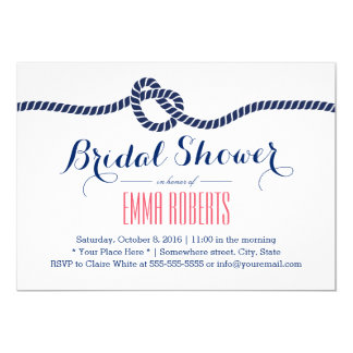 Nautical Bridal Shower Tying the Knot Navy Blue Card