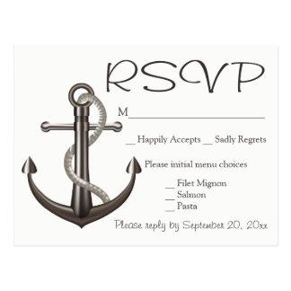 Nautical Brown RSVP Ship Anchor Wedding Beach Postcard