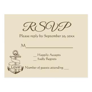 Nautical Brown RSVP Tan Ship Anchor Wedding Postcard