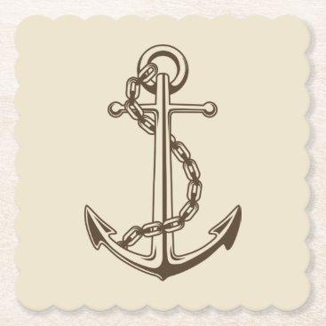 Beach Themed Nautical Brown Ship Anchor Tan Wedding Party Paper Coaster