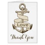 Nautical Brown Thank You Ship Anchor Love Card