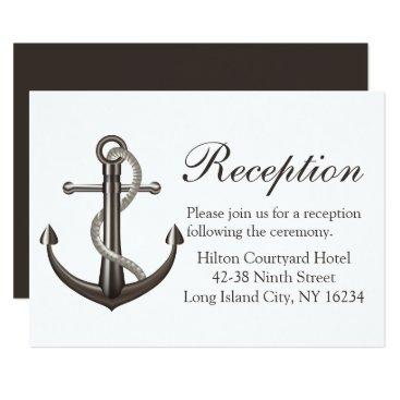 Beach Themed Nautical Brown Wedding Reception Ship Anchor Card