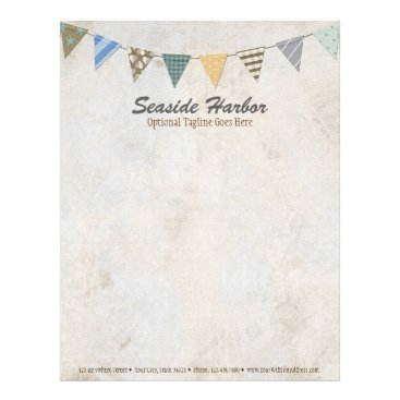 Nautical Bunting on Rustic Cream Shabby Beach Chic Letterhead