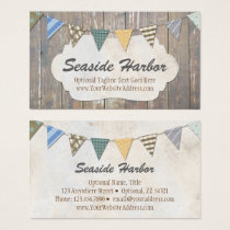 Nautical Bunting on Rustic Wood Shabby Beach Chic Business Card