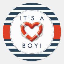 Nautical Buoy Baby Shower Stickers - It's A Boy!