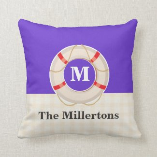 Nautical Buoy Monogram Pillow
