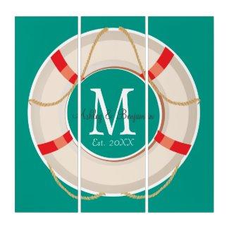 Nautical Buoy Monogram Wedding or Anniversary