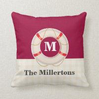 Nautical Buoy Monogrammed Throw Pillow